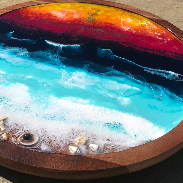 Lazy susan tray with sunset beach artwork
