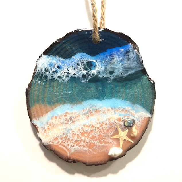 Coastal art Christmas ornament