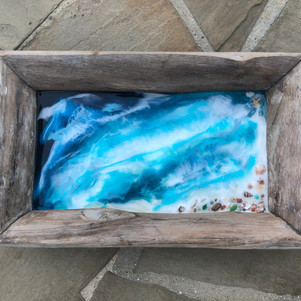 diftwood serving tray with original beach artwork