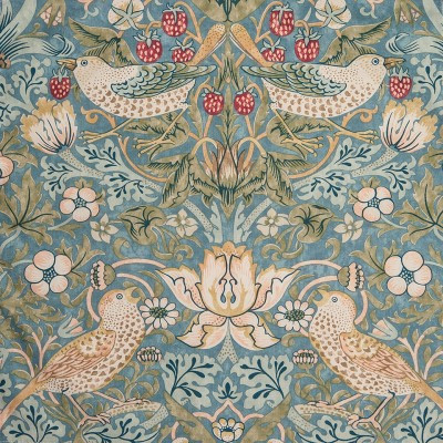 William Morris Strawberry Thief Slate Lined Curtains