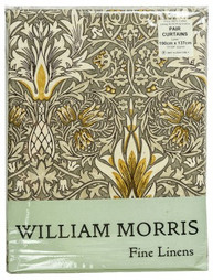 William Morris Snakeshead Pewter/Gold Lined Curtains