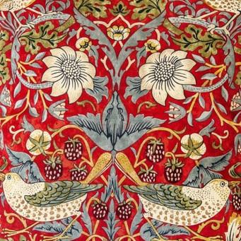 William Morris Strawberry Thief Crimson Lined Curtains