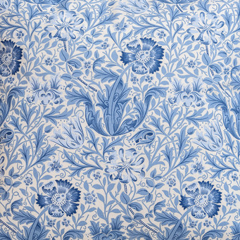 Morris Gallery Blue Compton Lined & Unlined Curtains