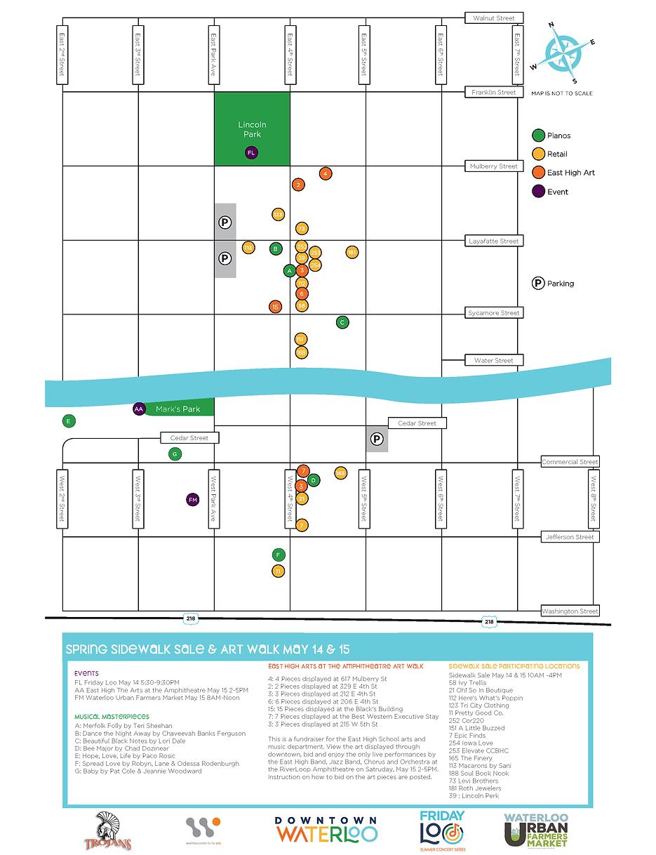 Map 2021 Spring Sidewalk Sale- Art Walk.