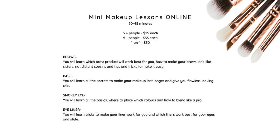 Mini Makeup Lessons ONLINE 30-45 minutes