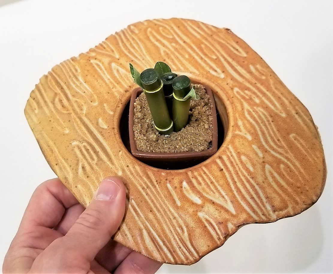 Handmade Ceramic Ikebana Planter by Ken Barneslder beige