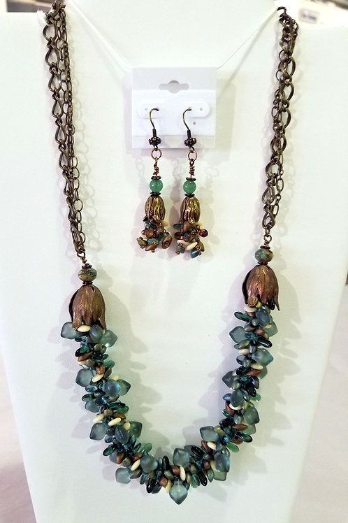 Sand and Sea Kumihomo  Necklace and Earring Set