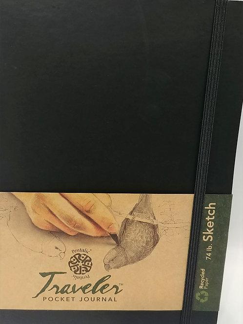 """Pentalic Traveler Pocket SKETCH Journal 10""""x 8"""" 74 lb 160 pages"""