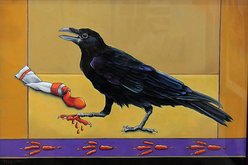 """""""A Raven Painting"""" Pastel"""