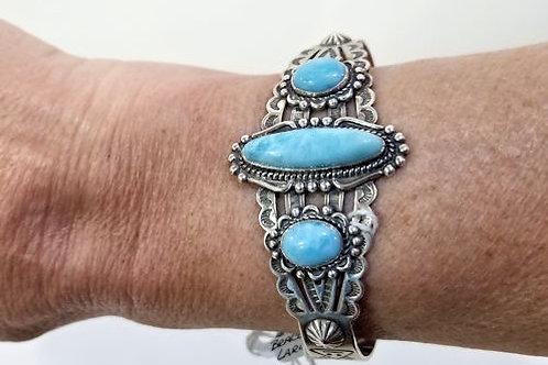 Larimar Sterling Silver Cuff Bracelet