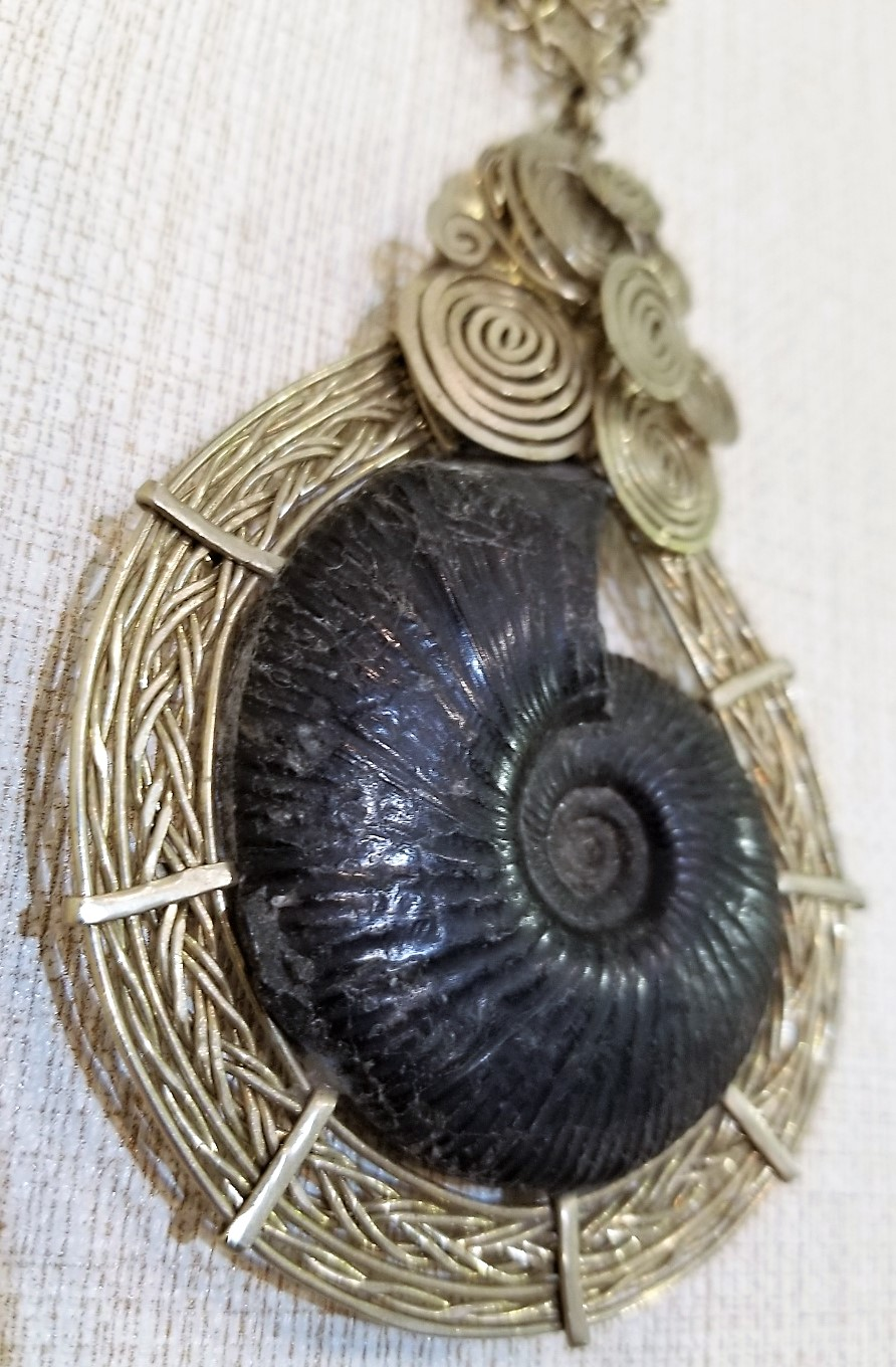 Ammonite and Woven Alpaca Silver Necklace, from Celeste Kilmartin