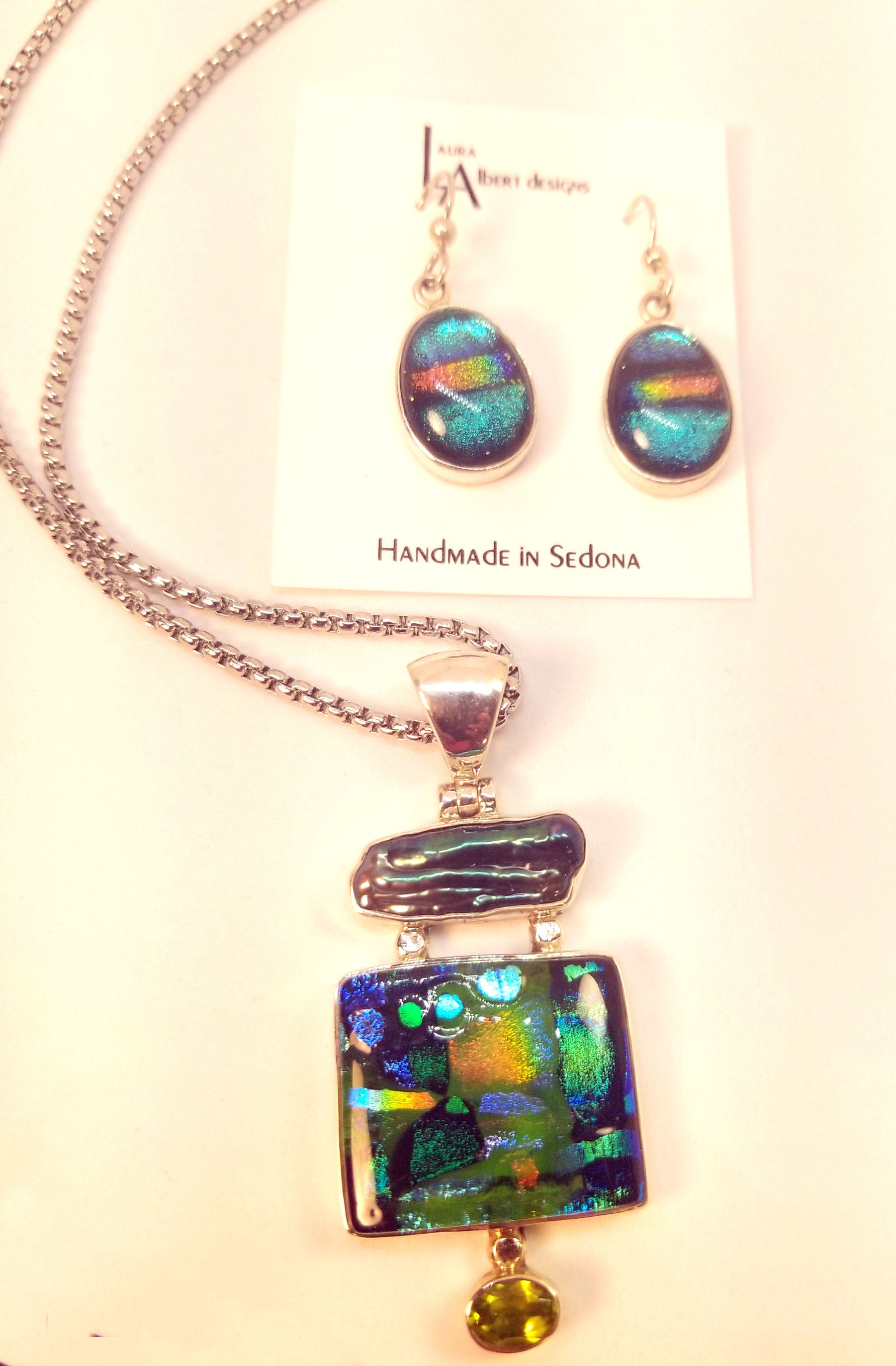 Dichroic Glass Necklace and Earring Set, by Laura Albert