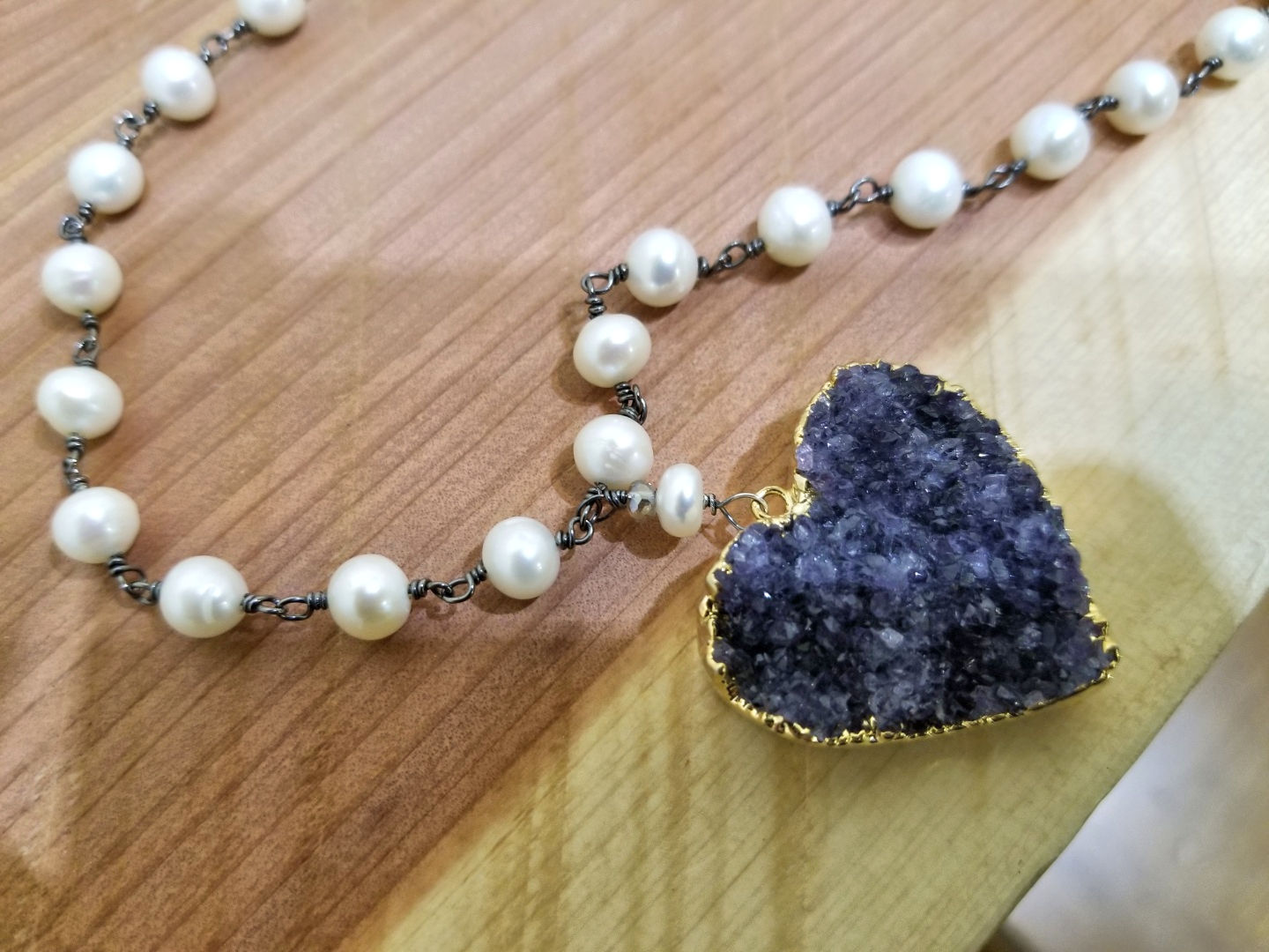 Pearl Necklace with Amethyst Druzy Pendant, by Sage of Grace