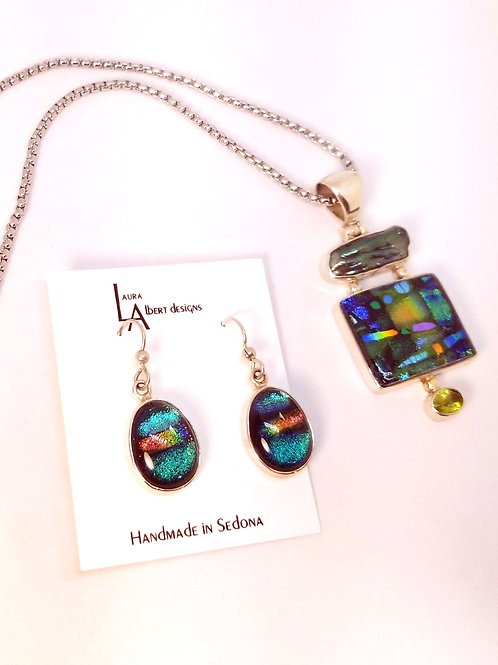 Diochroic Glass Necklace and Earring Set