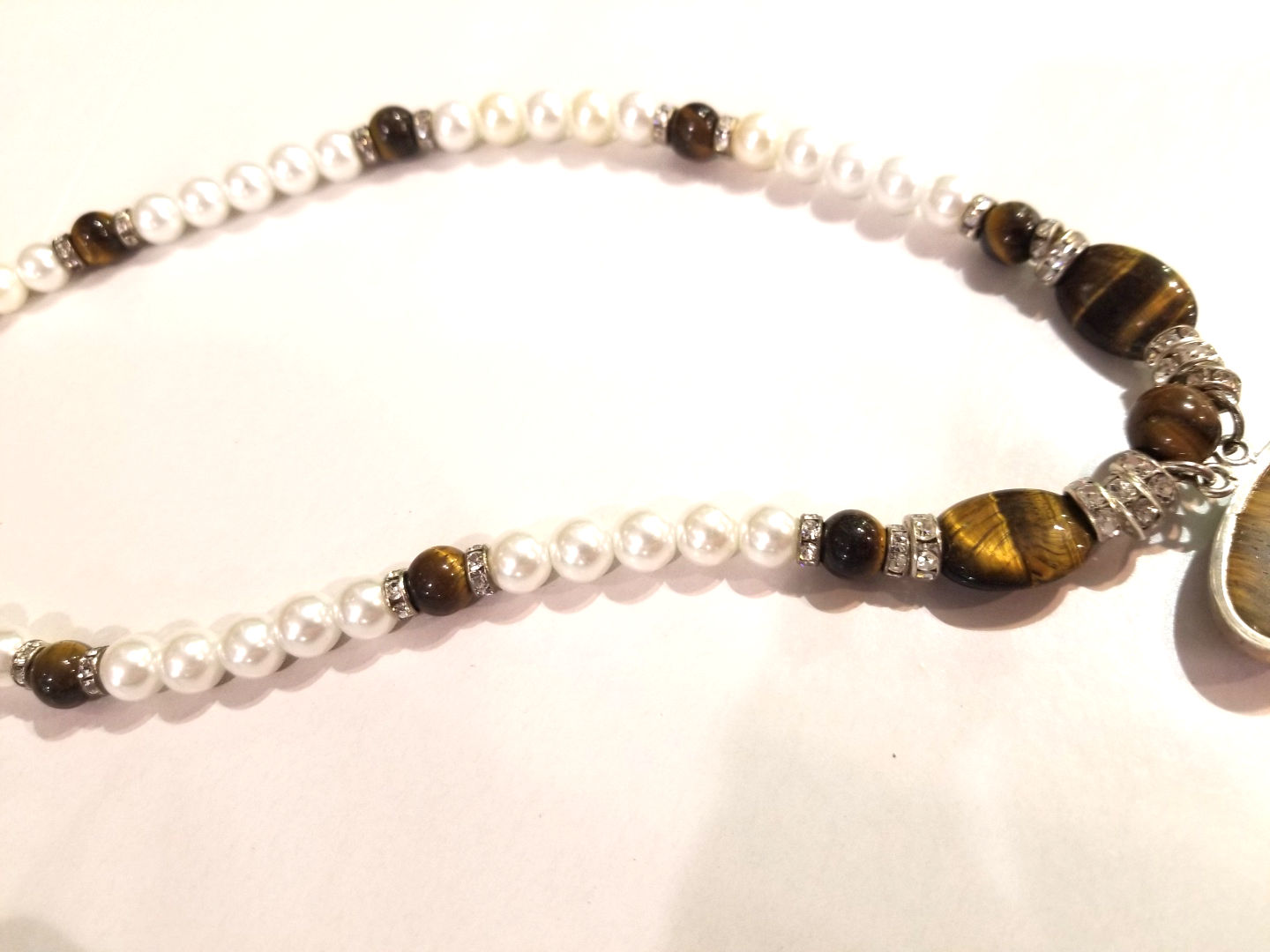 Tiger Eye and Pearl Necklace, by Barbie Edwards