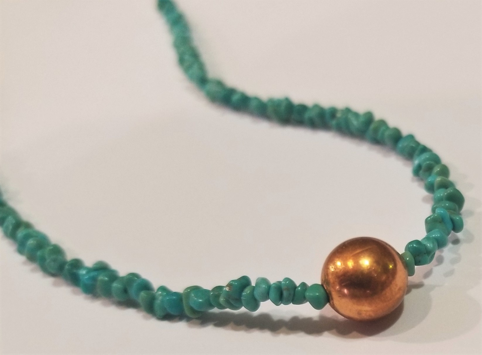 Turquoise and Copper Necklace, by Gary Golden