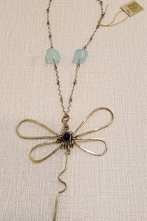 Lapis Lazuli and Alpaca Silver Dragonfly Pendant
