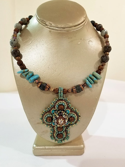 Embroidered Statement Piece Necklace