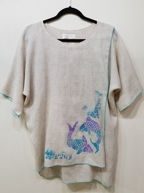 Rayon Top with Hand-Painted Design