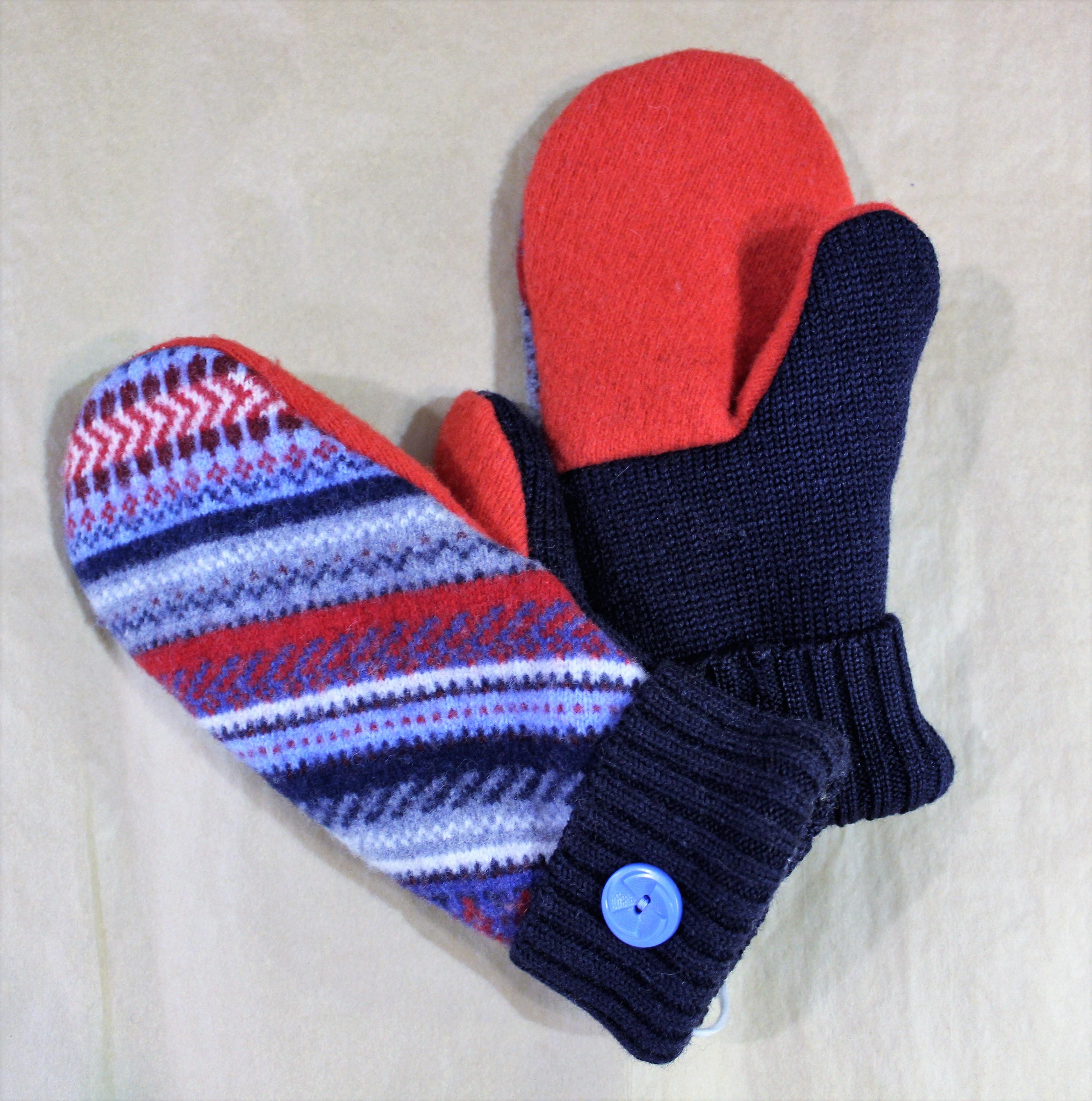 red blue mitten