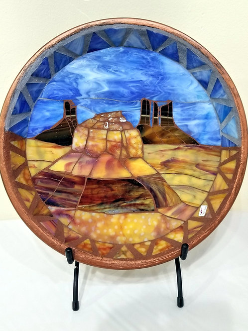 Monument Valley Glass Mosaic with Stand