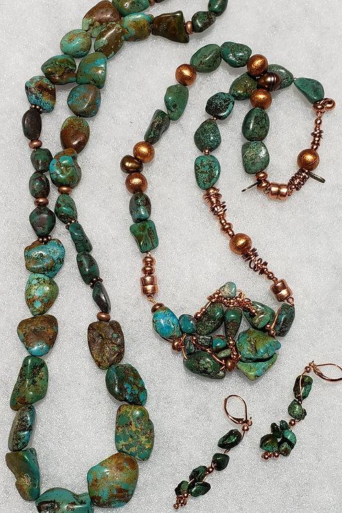 Baja Green Turquoise Necklace and Bracelets Set