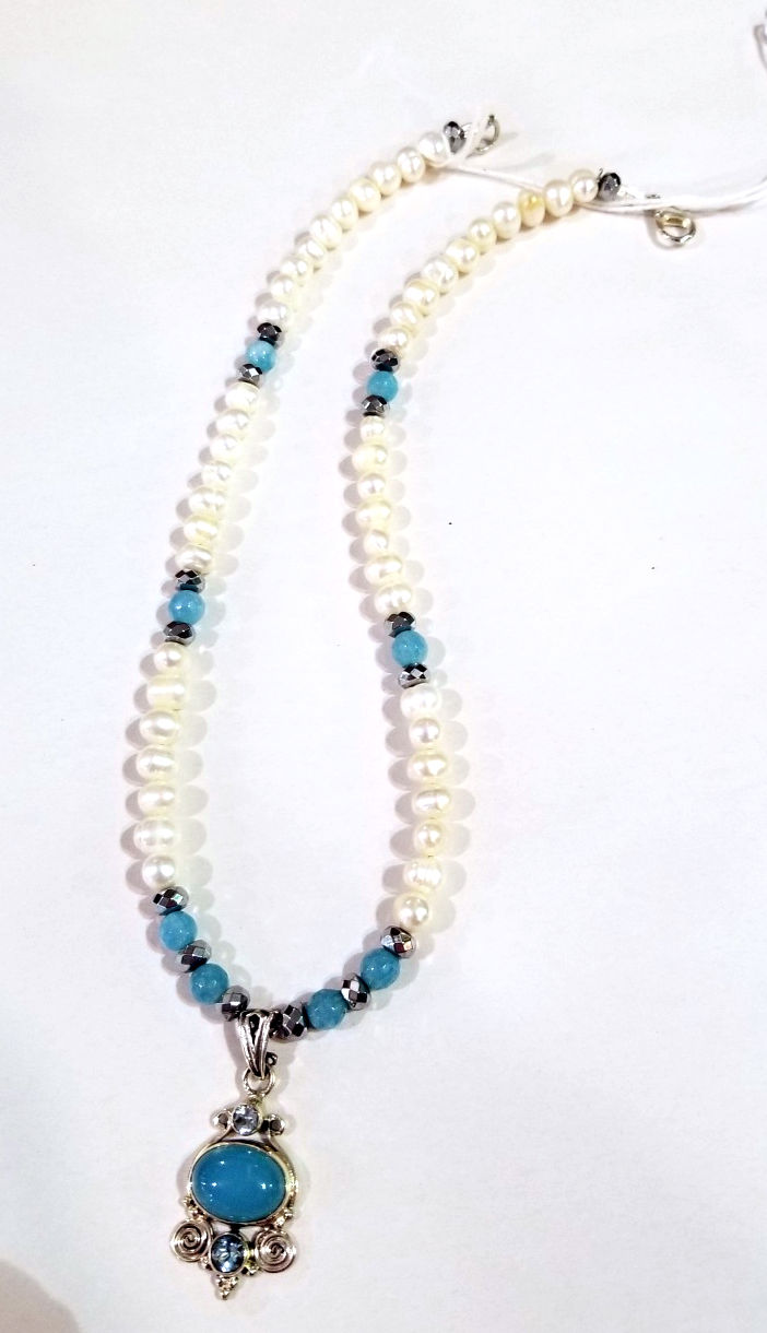 Aqua and Pearl Necklace, by Barbie Edward