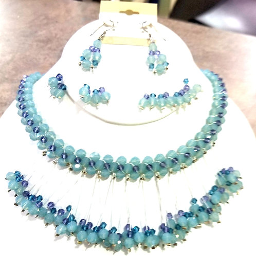 Swarovski and Tanzanite Necklace and Earring Set