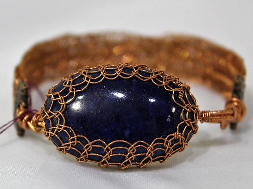 Lapis and Copper Wire Bracelet