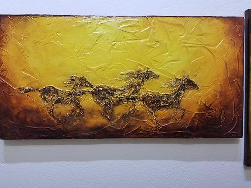"""Horses"" Print on Wood"