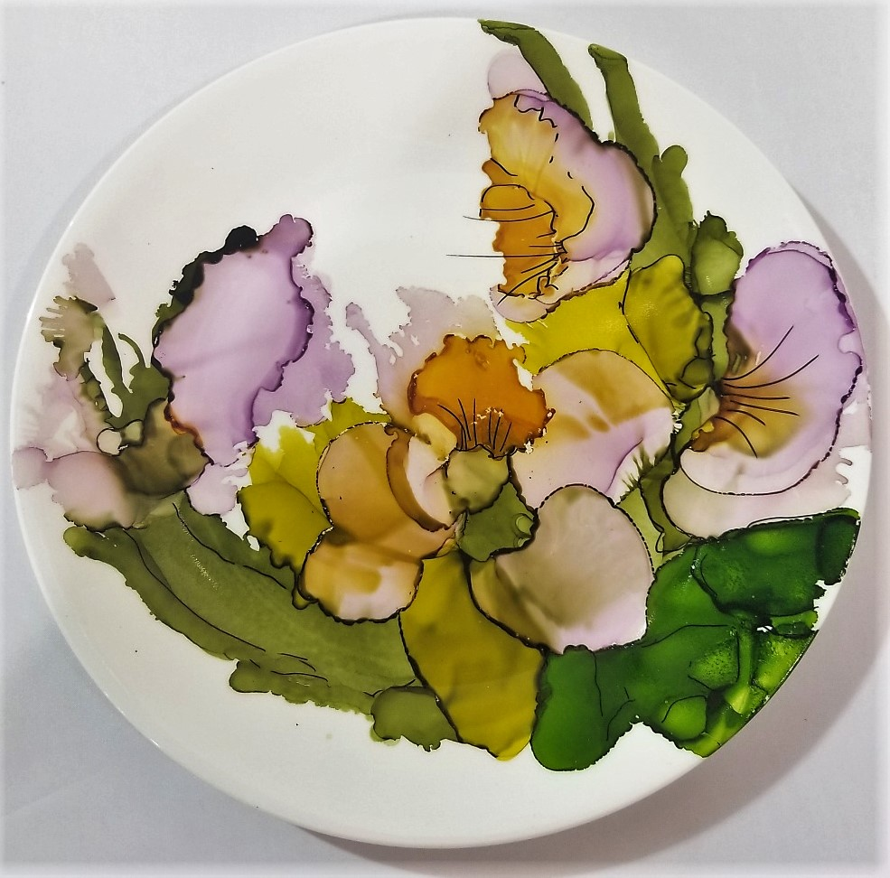 Alcohol Ink Plate, by Joan Hanson