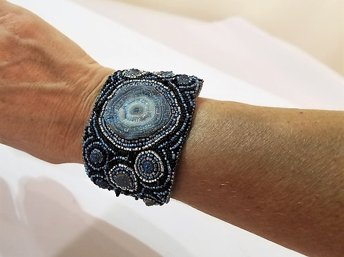 Blue Embroidered Cuff Bracelet