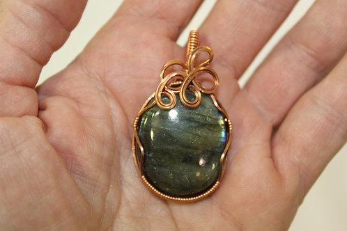 Labradorite and Copper Wire Pendant