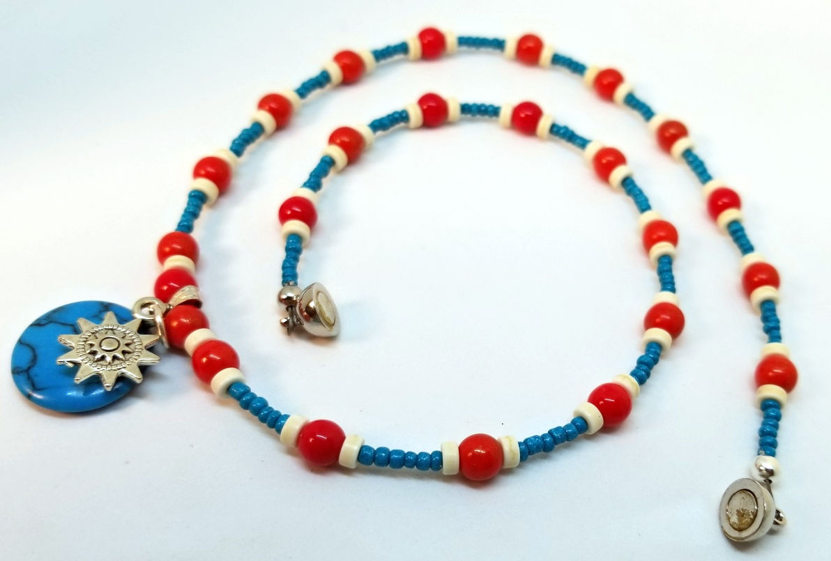 Southwest Necklace with Turquoise Howlite Pendant, by Charmed Recovery