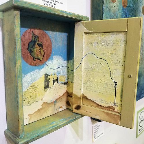 """Heart Tether"" Hanging Mixed Media Box"