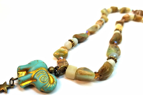 Blue Opal and Amazonite Lucky Elephant Necklace