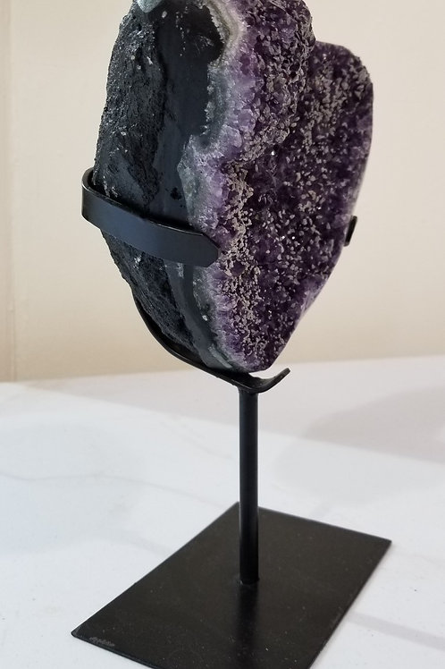 Amethyst with Calcite on Metal Stand