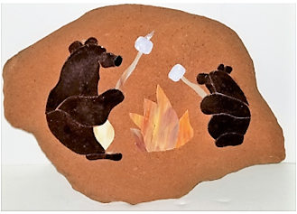 Stained Glass Bears on Shale, by Jan Jones
