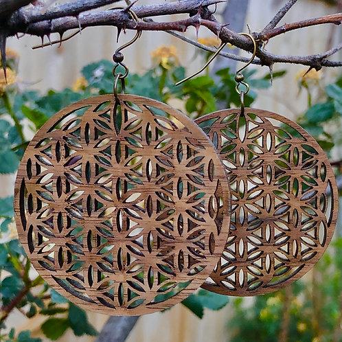 """Flower of Life"" Wooden Dangle Earrings"