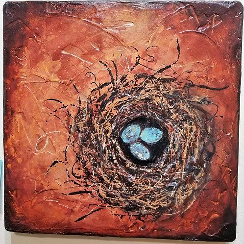 """""""Nest"""" Print on Wood"""