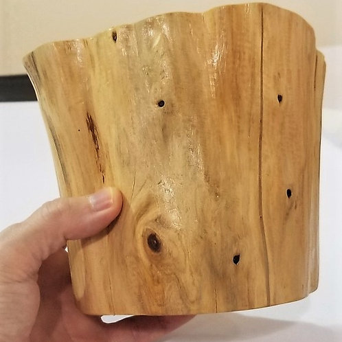 Blue Cypress Wood Vessel