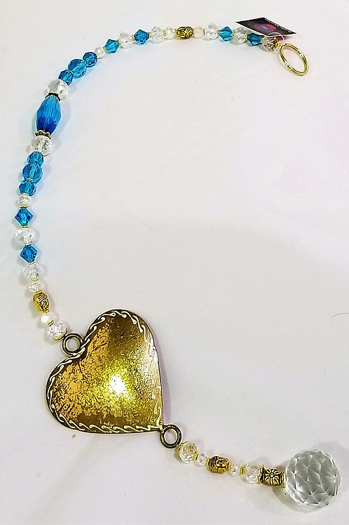 Blue Crystal Suncatcher with Heart