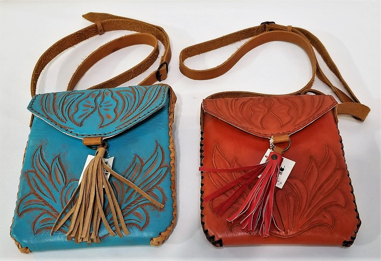 Mayan Hand-Tooled Leather Bags