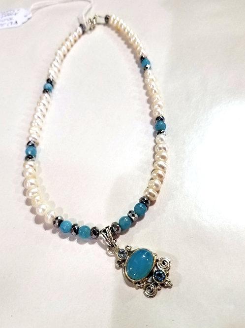 Pearl and Aqua Pendant
