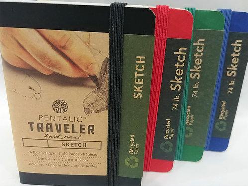 "Pentalic Traveler SKETCH pocket journal 4""x 3"" 74 lb"