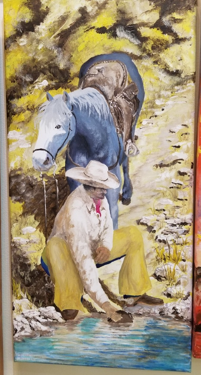 Vaquero at Stream, by Terry Van Cleave
