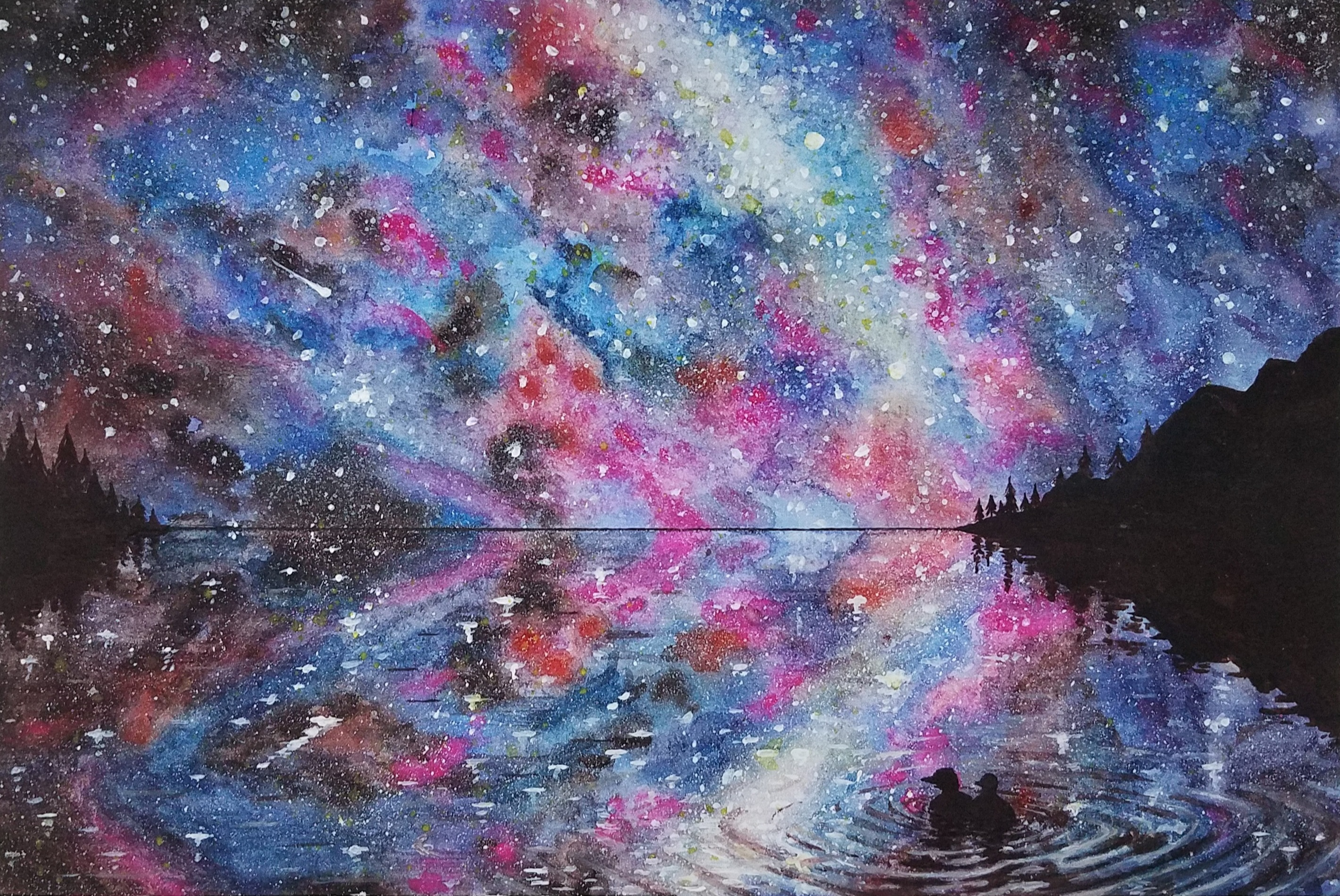 Stargazing Loons Watercolor, by Michael McCormack