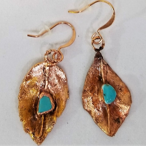 Copper Electroform Earrings with Turquoise