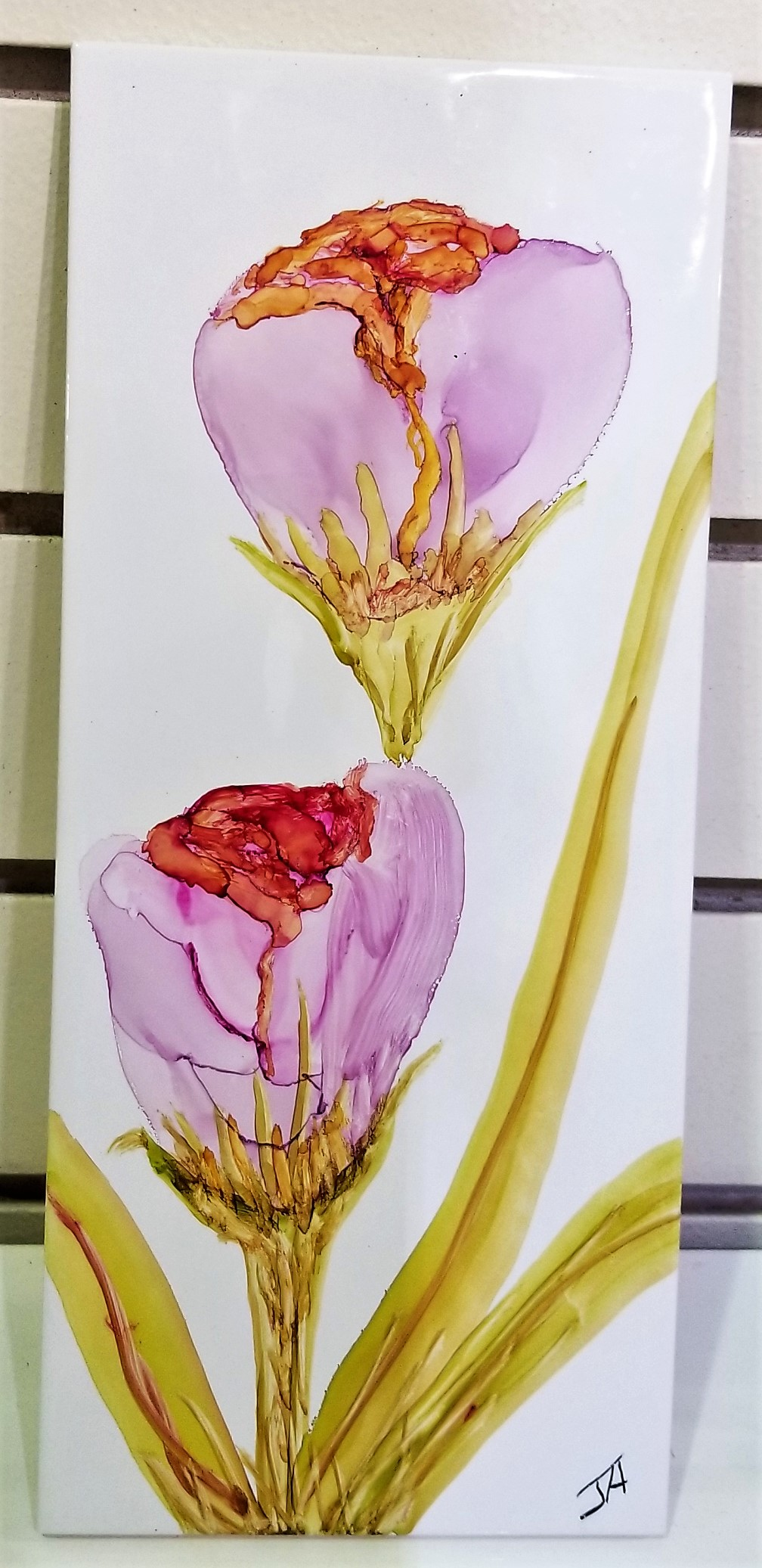 Alcohol Ink Tile, by Joan Hanson