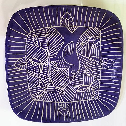 Blue Scraffito Bird Plate
